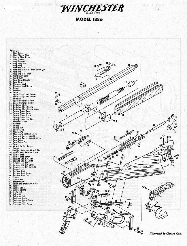Winchester 1886 Parts Schematic
